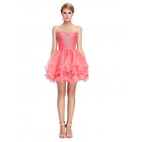 krátké lososové plesové šaty na ples Erica S-M