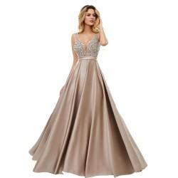 luxusní hnědé plesové šaty saténové Vinona L - taupe medium