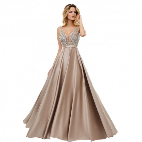 luxusní hnědé plesové šaty saténové Vinona S