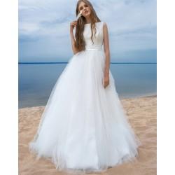 saténové svatební šaty s bohatou tylovou sukní Venezia M-L
