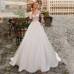 luxusní saténové svatební šaty bílé s 3/4 rukávky Caroline XS
