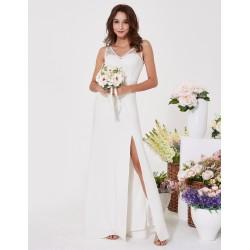 boho dlouhé krémové svatební šaty Eli S