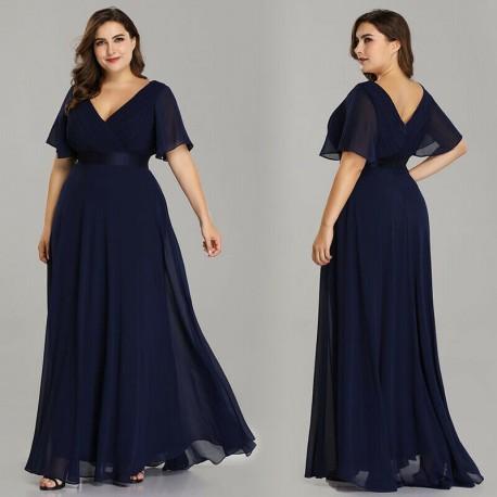 tmavě modré dlouhé společenské šaty Lisbet 3XL