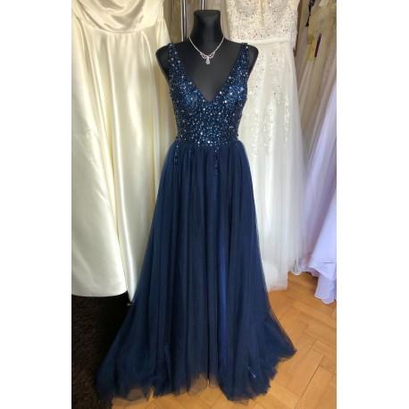 vínové plesové šaty s tylovou sukní Alicia XS-S