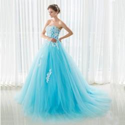 tylové modré plesové šaty na maturitní ples 2020 S-M