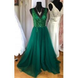 tmavě zelené plesové šaty s tylovou sukní Alicia XS-S