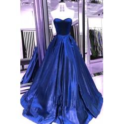 dlouhé modré plesové šaty na maturitní ples Anna XS-S