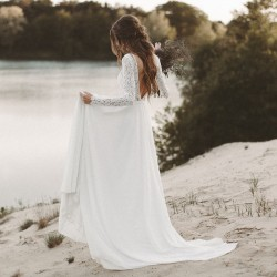 krémové boho svatební šaty s krajkovými rukávky XS