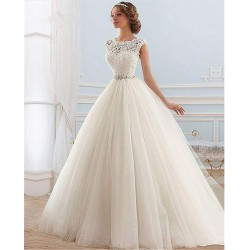 krémové tylové svatební šaty s bohatou sukní S