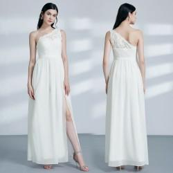 krémové jednoduché svatební šaty šifónové S-M