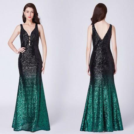flitrované společenské šaty černo-zelené S