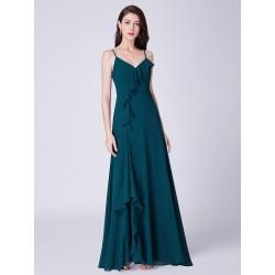petrolejové zelené společenské šaty na ramínka Katty M