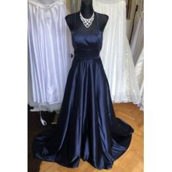 tmavě modré plesové šaty s holými zády XS-S