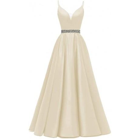 champagne plesové svatební šaty saténové Donna M-L