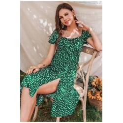 letní zelené šaty s bílým vzorem