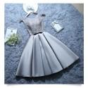 krátké šedivé společenské šaty do tanečních Mina XS-S