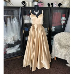tmavě champagne plesové šaty na maturitní ples s vysokým rozparkem Tina XS-S