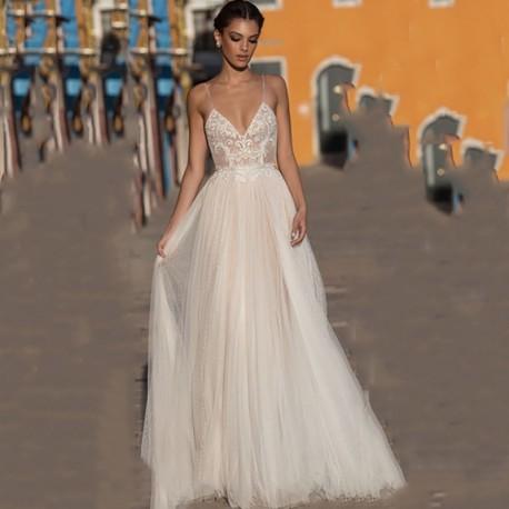 champagne boho svatební šaty Astrid