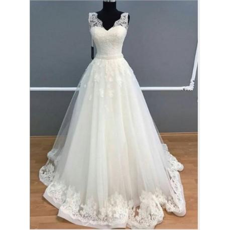 krémové svatební šaty na ramínka Mandy M-L