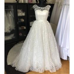 princeznovské krémové svatební šaty s netradičním vzorem Rebecca XS-S