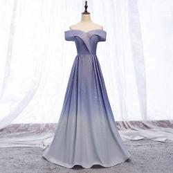 ombre plesové šaty modro-stříbrné na maturitní ples Evita XS-S