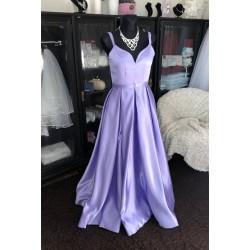 levandulové plesové šaty na maturitní ples s vysokým rozparkem Tina XS-S