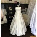 krémové saténové svatební šaty s kapsami Silvia S-M