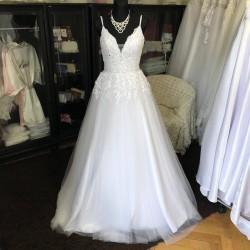 tylové svatební šaty na ramínka Elisabeth S-M