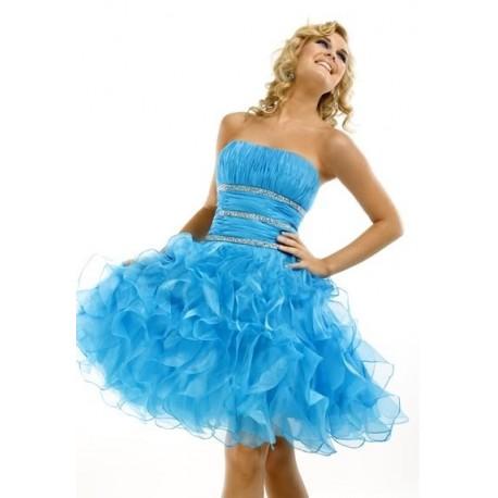 Luxusní světle modré šaty na míru