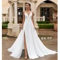boho svatební šaty na ramínka s rozparkem Becca XS, S