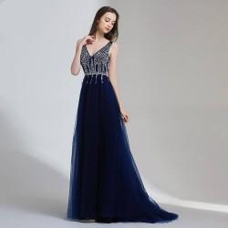 tmavě modré plesové šaty s tylovou sukní Alicia