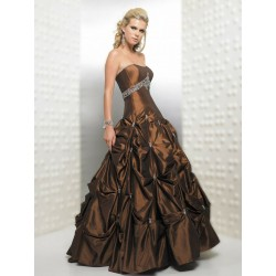 Mandy hnědé společenské plesové šaty M-L