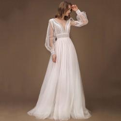 svatební šaty boho s dlouhými rukávky Lerona XS