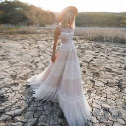 krémové boho antické svatební šaty Terry XS
