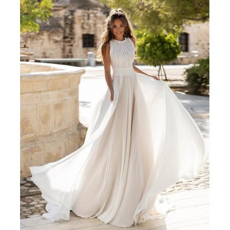 boho antické šifónové svatební šaty s krajkovým dekoltem Marica S