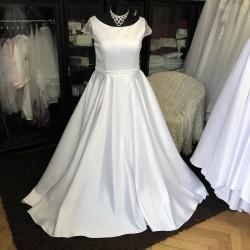 saténové svatební šaty na široká ramínka Gabriela 3XL-4XL
