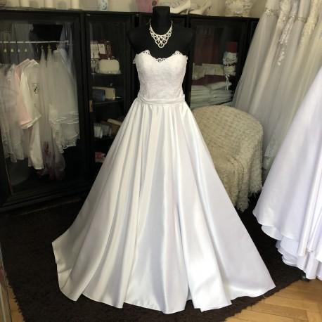 saténové svatební šaty s krajkovým živůtkem Hannah XS-M