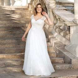 antické bílé svatební šaty na ramínka Lucy XL-XXL