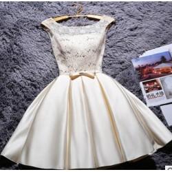 krátké krémové společenské šaty do tanečních Mina XS-S