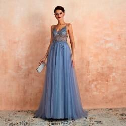 nádherné plesové šaty na maturitní ples 2020 Teresia S tmavší modrá
