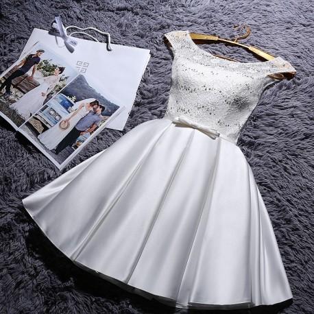 krátké bílé společenské šaty do tanečních Mina XS-S