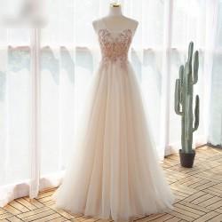 tylové champagne plesové šaty Monica XS-S