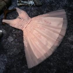 Krátké světle růžové plesové šaty s tylovou sukní Andromeda XS-S