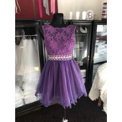 tmavě fialové krátké společenské šaty do tanečních Tina XS