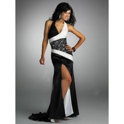 Sexy černo-bílé společenské šaty na míru