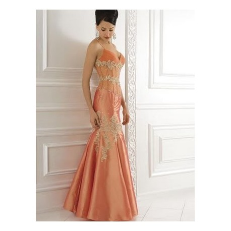 Luxusní oranžové večerní šaty na míru