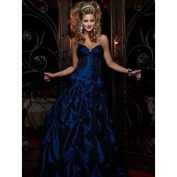 Temně modré večerní šaty na míru