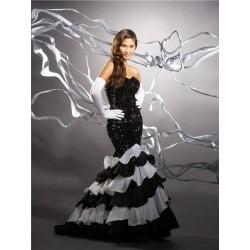 Černo-bílé společenské šaty na míru