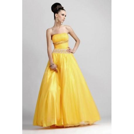 Sexy žluté společenské šaty na míru