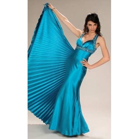 Stylové modré večerní šaty na míru